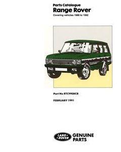 Range Rover Parts Catalogue - 1986 to 1992