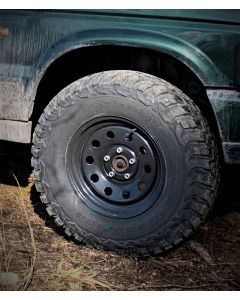 265/75R16 BF Goodrich Mud Terrain MT KM3 tyre fitted and balanced on 16x8in Black Disco 2 / P38  Modular Wheel