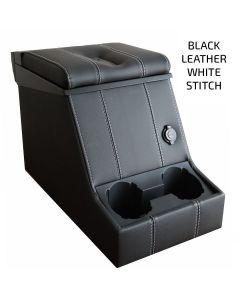 Premium Loc Box - Black Leather, White Stitching