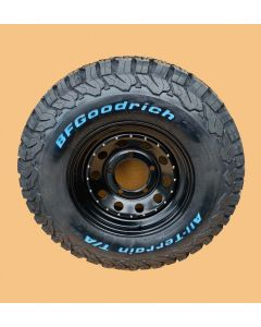 235/85R16 BF Goodrich All Terrain T/A KO2 Tyre Fitted and Balanced on 16x7 Black Modular Wheel - Writing on the Outside