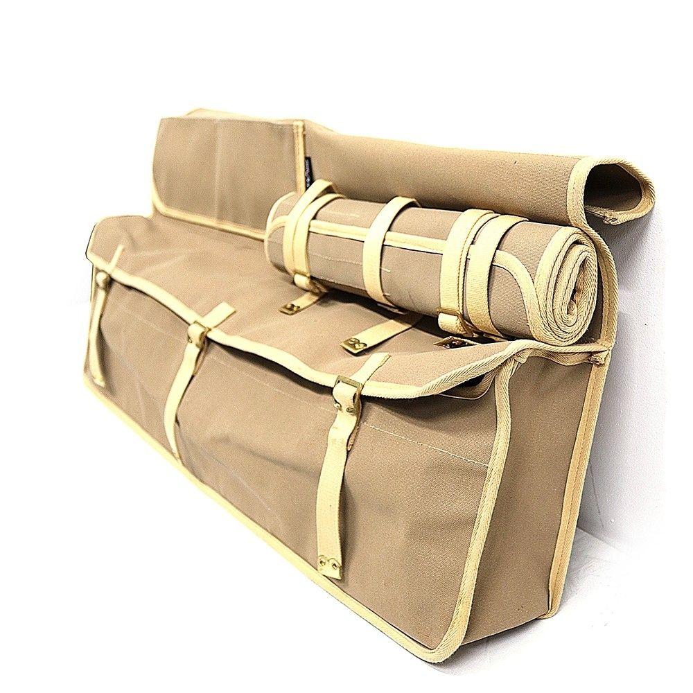 Canvas Bulkhead Storage Bag with Tool Roll - Khaki
